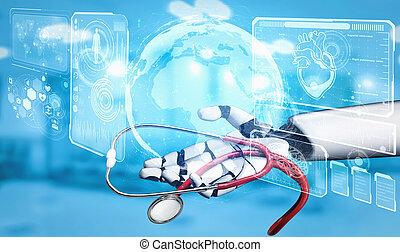 3D rendering medical artificial intelligence robot working ...