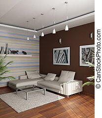 3d rendering. Meeting room with an angular sofa and pictures...