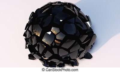 3D rendering modern abstract background. Computer generated glass black ball falls and destructions into shards