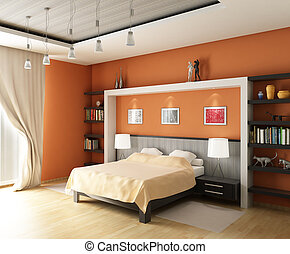 3d rendering. Modern bedroom with the big bed in pastel and orange tones and book shelfs
