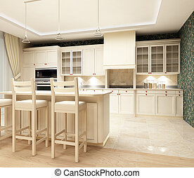 3d rendering. Modern design of kitchen with sensation of a cosiness and heat in light tones