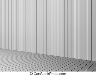 3D Rendering modern white slats wall and floor, interior illustration, mock up
