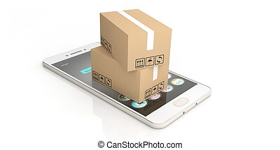 3d rendering moving boxes on smart phone and white background