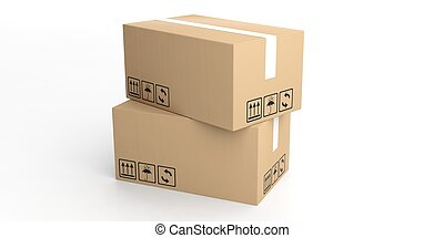 3d rendering moving boxes on white background