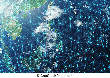 3D rendering Network and data exchange over planet earth in space. Connection lines Around Earth Globe. Global International Connectivity, Elements of this image furnished by NASA.