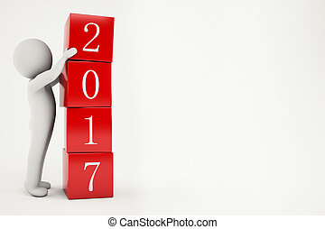 3D Rendering new year 2017 - 3D Rendering little man forms...