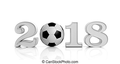 3d rendering new year 2018 with soccer ball