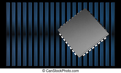 3d rendering of 128,64,32,16,8 stack IC with black blackground