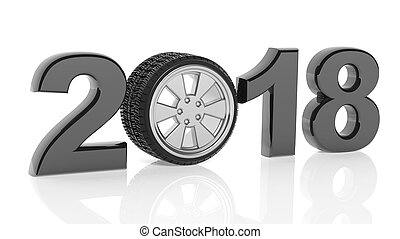 3D rendering of 2018 with car's wheel as zero