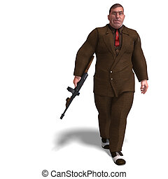 bad mafia gun man - 3D rendering of a bad mafia gun man with...