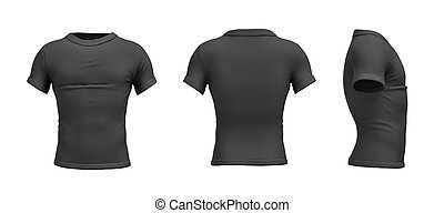 3d rendering of a black T-shirt in realistic slim shape in side, front and back view on white background.