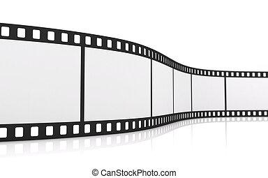 3D rendering of a blank 35mm film strip