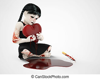 3D rendering of a blood covered small girl holding bleeding heart.