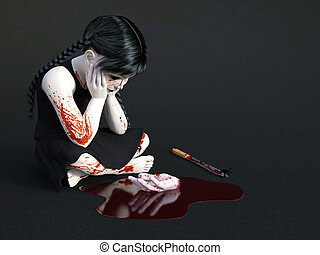 3D rendering of a blood covered small girl sitting on the floor.