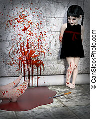 3D rendering of a blood covered small girl with murdered body.