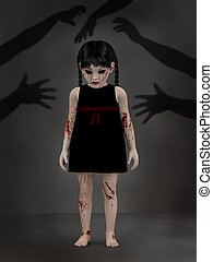 3D rendering of a blood covered small girl with shadow hands.