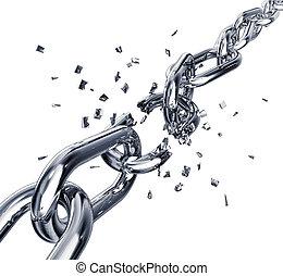 broken chain - 3D rendering of a broken chain