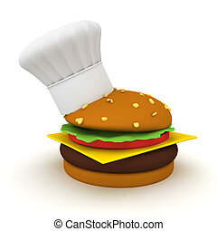 3D Rendering of a burger with small chef hat on its side