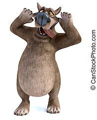 3D rendering of a cartoon bear doing a silly face.