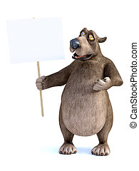 3D rendering of a cartoon bear holding blank sign.