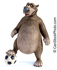 3D rendering of a cartoon bear posing with soccer ball.