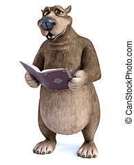 3D rendering of a cartoon bear reading a book.