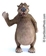 3D rendering of a cartoon bear waving hello.