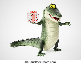 3D rendering of a cartoon crocodile holding a gift.