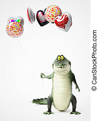 3D rendering of a cartoon crocodile holding balloons.