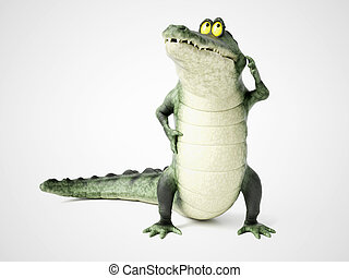 3D rendering of a cartoon crocodile thinking.