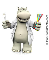 3D rendering of a cartoon hippo dentist holding toothbrushes.