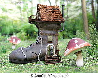 3D rendering of a cartoon mouse at a fairytale shoe house.