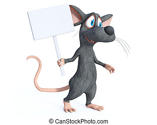 3D rendering of a cartoon mouse holding blank sign.