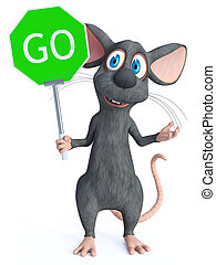 3D rendering of a cartoon mouse holding go sign.