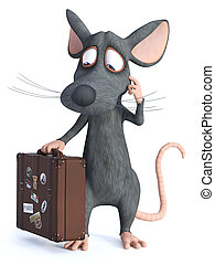 3D rendering of a cartoon mouse holding travel suitcase.