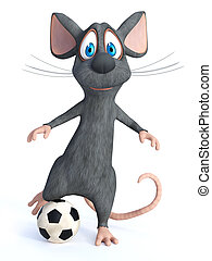 3D rendering of a cartoon mouse kicking soccer ball.