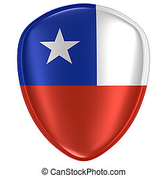 3d rendering of a Chile flag icon.