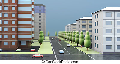3D rendering of a city street