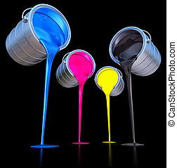 3D rendering of a cmyk concept