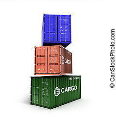 3d rendering of a colored shipping container