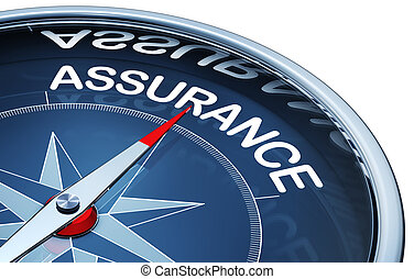 assurance - 3d rendering of a compass with a assurance icon