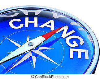 change - 3D rendering of a compass with a change icon