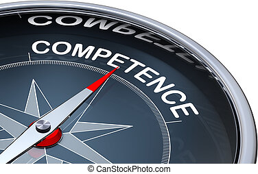 competence - 3d rendering of a compass with a competence ...