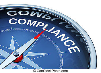 3d rendering of a compass with a compliance icon