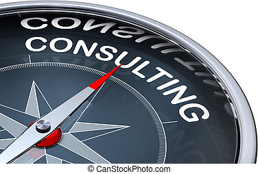 consulting - 3D rendering of a compass with a consulting...