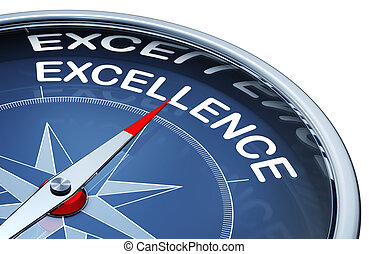 excellence - 3D rendering of a compass with a excellence...
