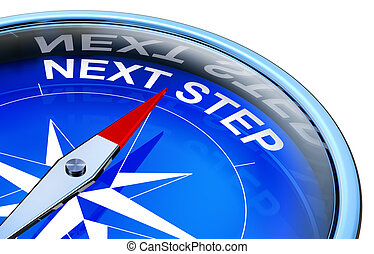 next step - 3D rendering of a compass with a next step icon