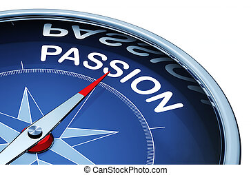 passion - 3d rendering of a compass with a passion icon