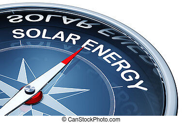 solar energy - 3D rendering of a compass with a solar energy...