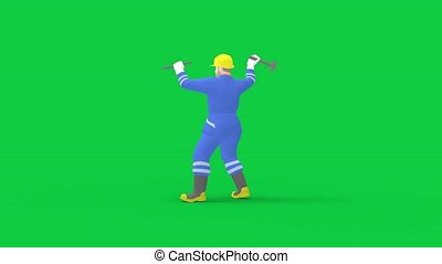 3d rendering of a computer generated worker holding a hammer isolated